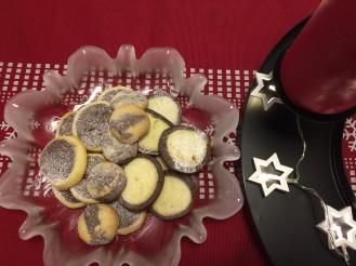 crno bijeli keksići, božićni keksići, kakao keksići